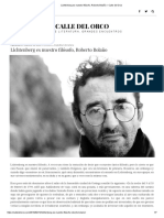 Lichtenberg Es Nuestro Filósofo, Roberto Bolaño – Calle Del Orco