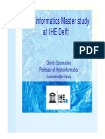 On Hydroinformatics Masters in Ihe Delft v09