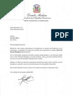 Carta de condolencias del presidente Danilo Medina a Charytín Goico por fallecimiento de su madre, María del Rosario Rodríguez (Doña Charito)