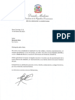 Carta de felicitación del presidente Danilo Medina a Bernardo Melo por haber sido seleccionado Ferretero del Año y recibir el Botón de Oro de ASODEFE