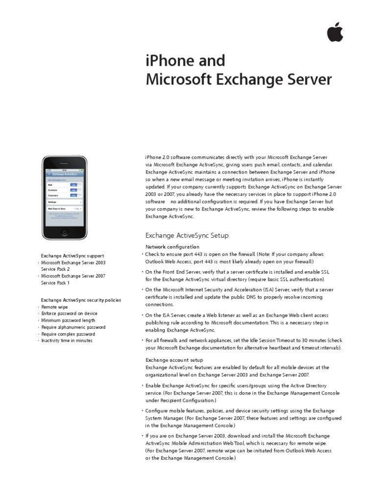 Iphone Ms Exchange Microsoft Exchange Server Active Directory