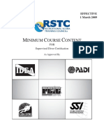 (RSTC) Minimum Course Content for Supervised Diver Certification