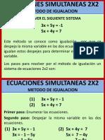 ECUACIONES 2X2 METODO DE IGUALACION