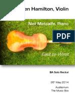 Recital Programme Note