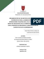 IMPLEMENTACIÓN DE UNA METODOLOGÍA DE JUEGOS COOPERATIVOS PARA LA DISMINUCIÓN DE LAS INTERACCIONES VIOLENTAS EN EL AULA DE UN 5° AÑO BÁSICO DE UNA ESCUELA DE LA COMUNA DE SAN JOAQUÍN, CON EL PROPÓSITO DE MEJORAR EL CLIMA DE AULA EN UN CONTEXTO DE ALTA VULNERABILIDAD