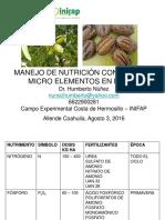 Manejo de Nutrición Inifap Hermosillo