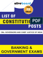 List of Imp Consititutional Posts CM Gov CJI New