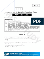CBSE 10th Mathematics Sample Paper 2019 Question Paper