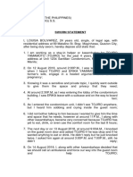 Sworn Affidavit - Louisa Bolivarez