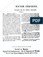 1819 Boletín nº 5 Estado Mayor patriota