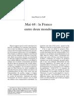 Mai 68_La France Entre Deux Mondes (Le Debat, No 149)