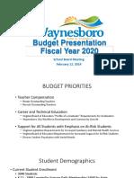 Waynesboro Public Schools fiscal year 2020 budget proposal presentation