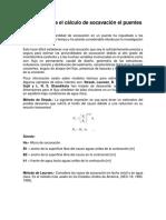 Fórmulas Para El Cálculo de Socavación  Puentes