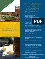 Welsh Academy open house flyer