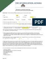MOE Questionnaire - Region #1