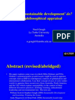 """What does ·""""Sustainable Development"""" do? - A Geophilosophical Appraisal"""
