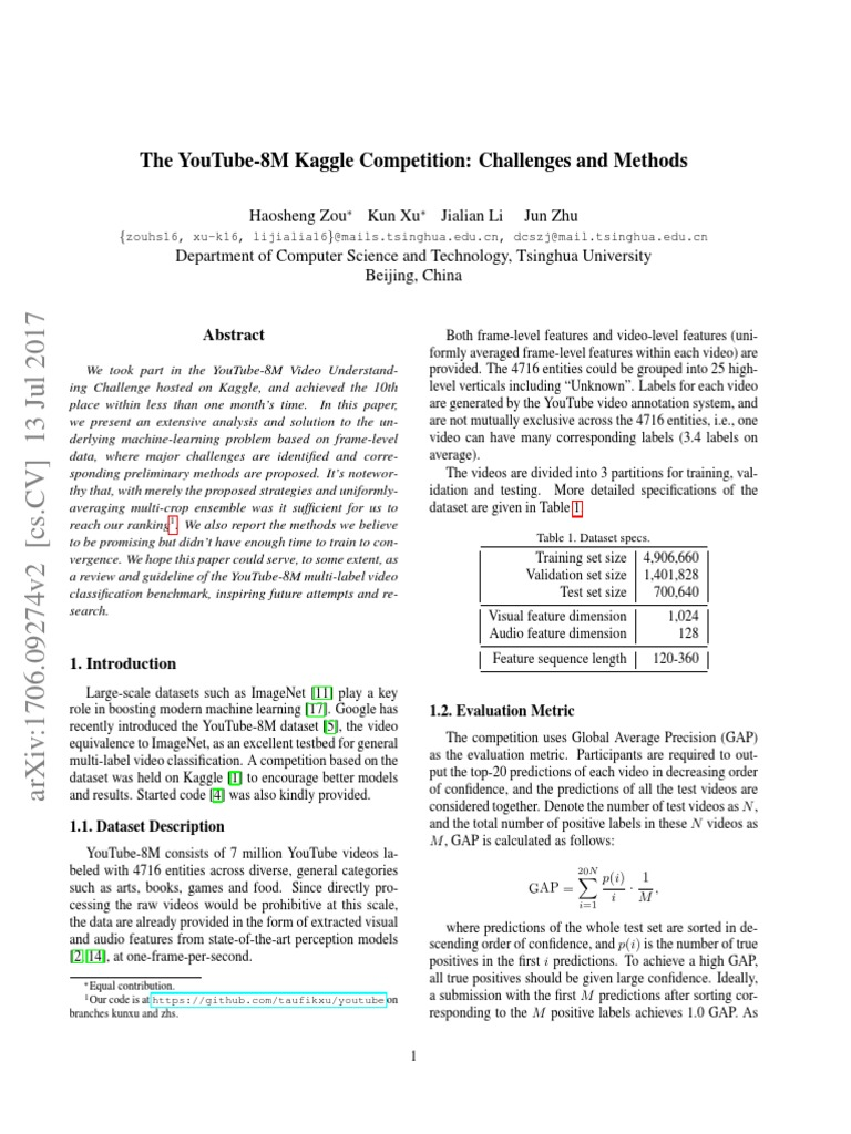 The YouTube-8M Kaggle Competition Challenges and Methods