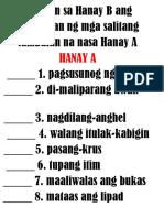 Hanapin sa Hanay B ang kahulugan ng mga salitang tambalan na nasa Hanay A.docx