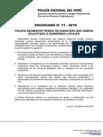 COMUNICADO PNP N° 11- 2019