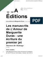 Les archives de Marguerite Duras - Les manuscrits de L'Amour de Marguerite Duras