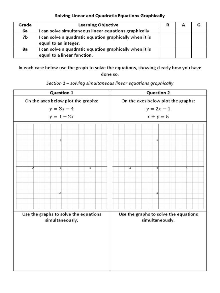 Solving Linear And Quadratic Equations Graphically Questions   Equations    Quadratic Equation