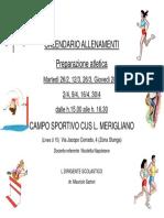 Volantino Calendario Allenamenti Preparazione Atletica2019