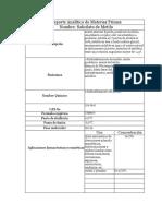 Reporte Analítico de Materias Primas Solidos