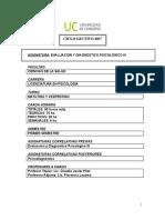 Evaluación y Diagnóstico Psicológico IV - Programa 2017