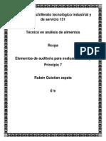 Elementos de auditoria para evaluar HACCP y  Principio 7