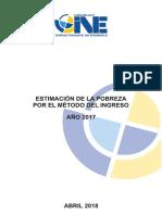Estimación de La Pobreza Por El Método Del Ingreso 2017