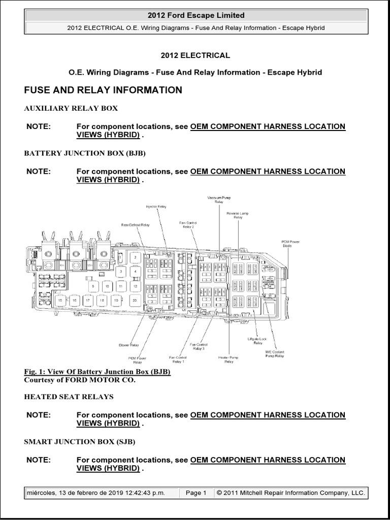 2012 Ford Escape Localizacion De Fusibles Y Relevadores Hibrido