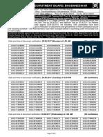 Exam Results RRB Bhubaneshwar NTPC Graduate Posts Advt No. CEN 03 2015