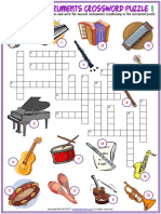 Musical Instruments Vocabulary Esl Crossword Puzzle Worksheets for Kids