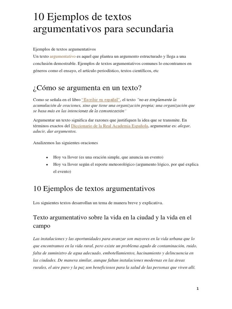 04 B 10 Ejemplos De Textos Argumentativos No Estudiar Solo Leer Pena Capital Corrupción Política