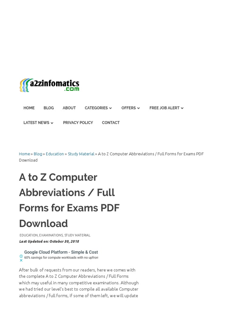 a to z full form pdf free download