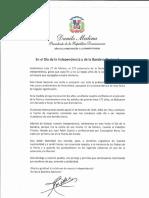Mensaje del presidente Danilo Medina en ocasión del 175 aniversario de la Declaración de nuestra Independencia; y celebración del Día de la Bandera Nacional