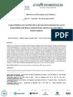 CARACTERIZAÇÃO GEOTÉCNICA DE SOLOS DA REGIÃO DO ALTO PARAOPEBA EM MINAS GERAIS PARA APLICAÇÃO EM OBRAS RODOVIÁRIAS