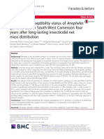 Insecticide susceptibility status of Anopheles gambiae (s.l.) in South-West Cameroon four years after long-lasting insecticidal net mass distribution