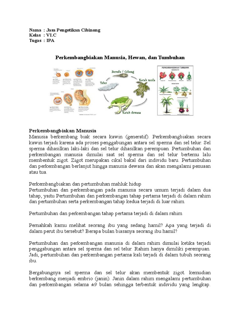 Perkembangbiakan Manusia Hewan Dan Tumbuhan Doc