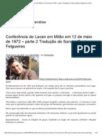 Conferência de Lacan Em Milão Em 12 de Maio de 1972 – Parte 2 Tradução de Sandra Regina Felgueiras _ Trilhar
