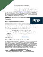 RRB NTPC Recruitment Notification 2019