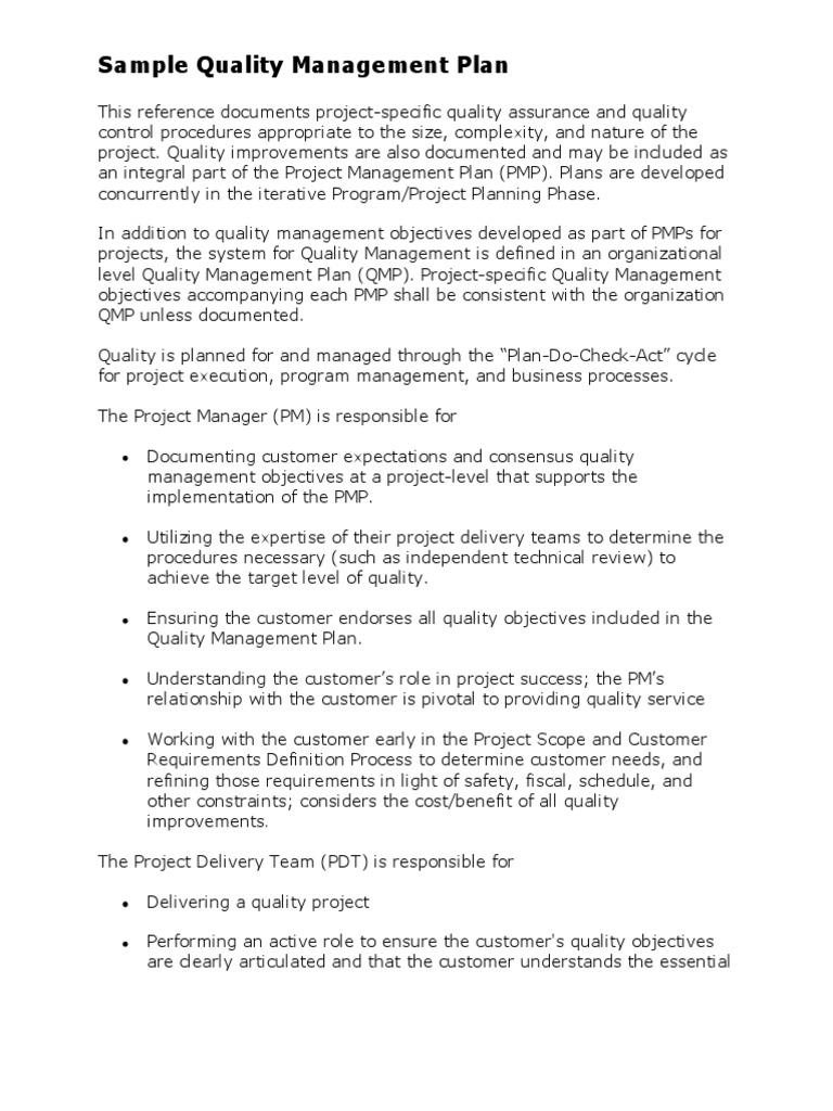 Sample Quality Management Plan Quality Management Quality Assurance