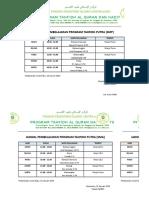 Jadwal PBM Program Tahfidh Semester Genap 2018-2019