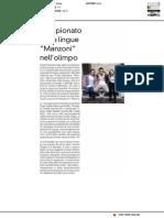 """Campionato delle Lingue, """"Manzoni"""" nell'Olimpo - La Prealpina del 24 febbraio 2019"""