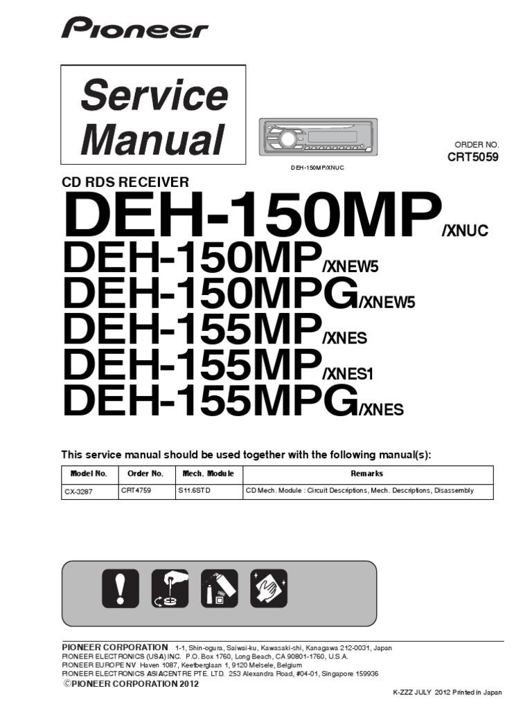 DEH-150MP: DEH-150MP DEH-150MPG DEH-155MP DEH-155MP DEH-155MPG | Laser |  HertzScribd