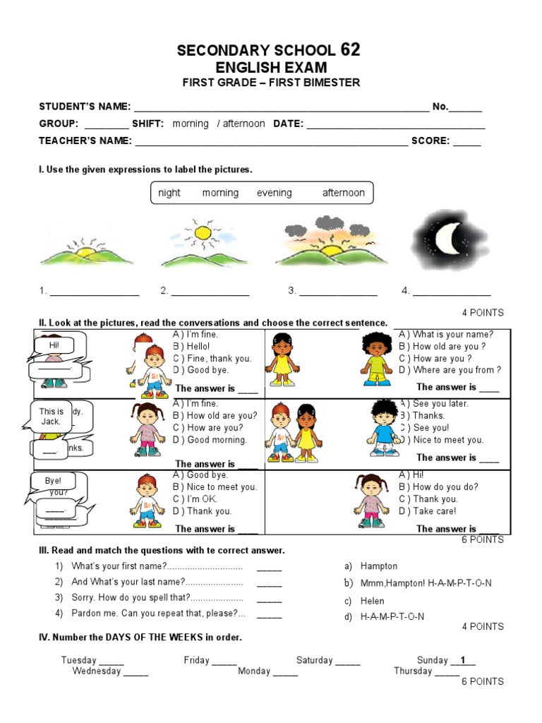 Examen de Ingles primer grado bloque I   Schools