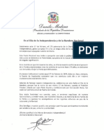 Mensaje de Danilo Medina en Día de la Independencia