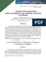 Utilizacion de Los Materiales Como Estrategia de Aprendizaje Sensorial