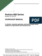 Perkins 900 Series Cr 3 Cylinder Diesel Engine Service Repair Manual
