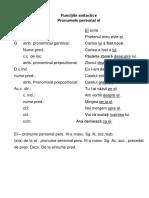 Funcțiile Sintactice Promunele Personal El